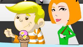 Une fille serveuse de glaces